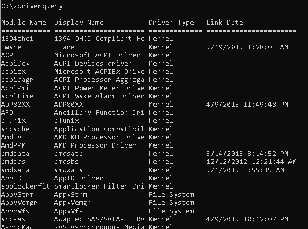 DRIVERQUERY - List Drivers and Properties
