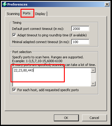 Specify Ports To Scan