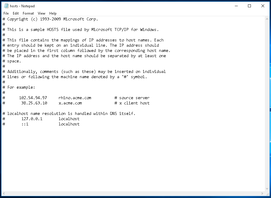 hosts File with Notepad